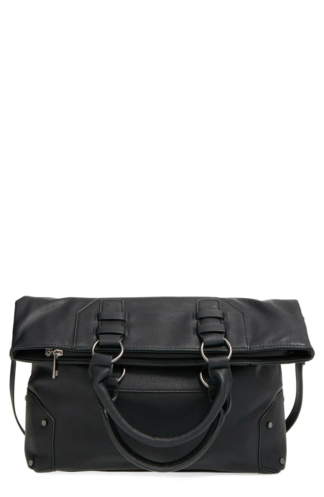 Main Image - Sole Society 'Monze' Faux Leather Foldover Tote