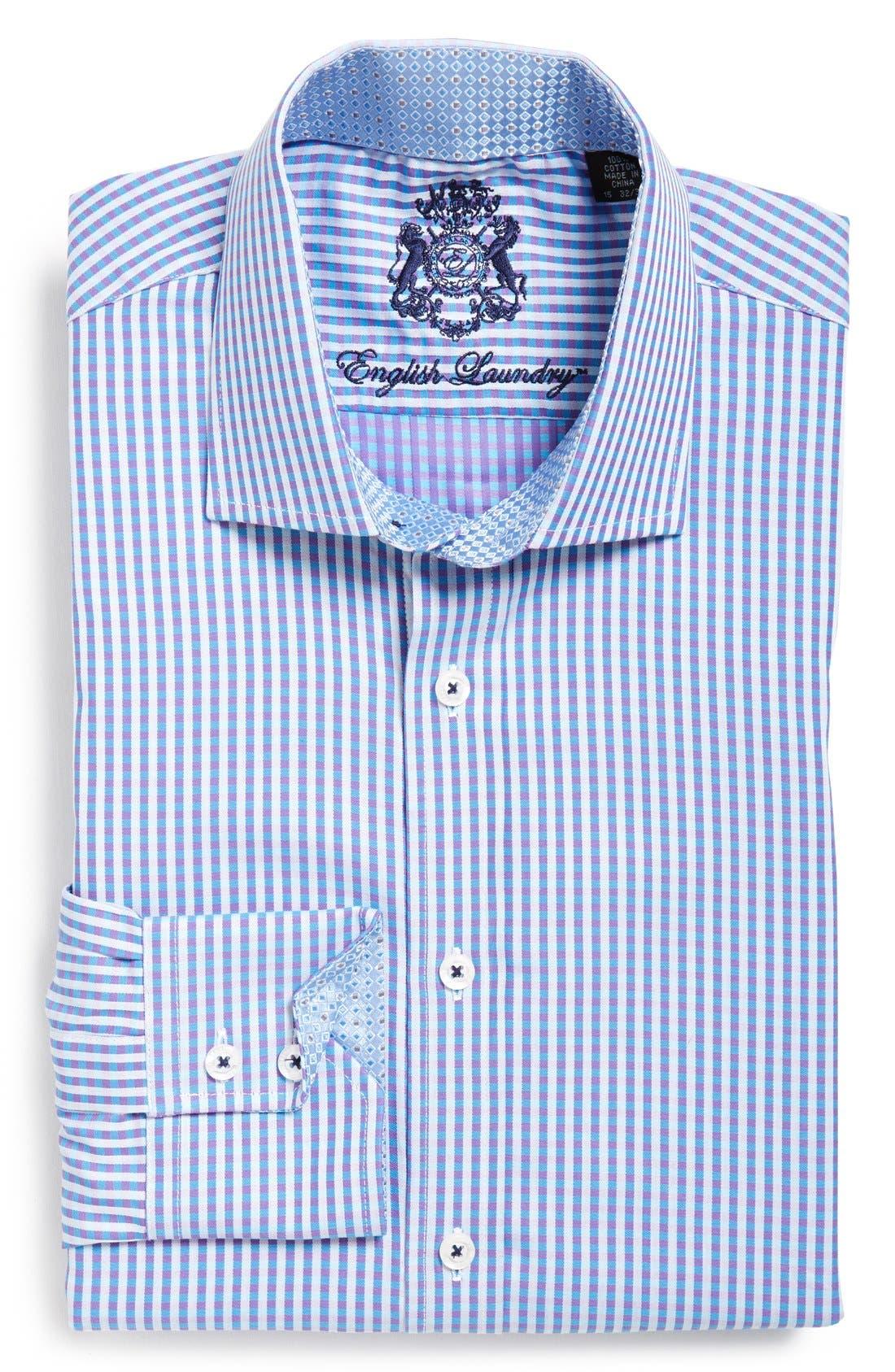 Trim Fit Check Dress Shirt,                             Main thumbnail 1, color,                             Purple