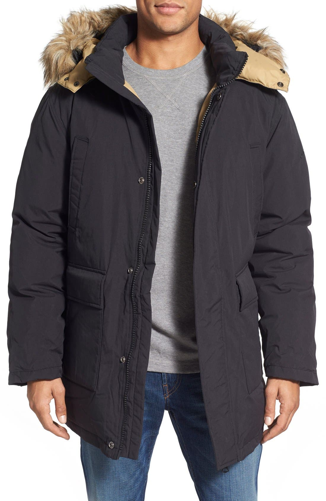 'Iceberg' Water Resistant Down Parka with Faux Fur Trim,                         Main,                         color, Black