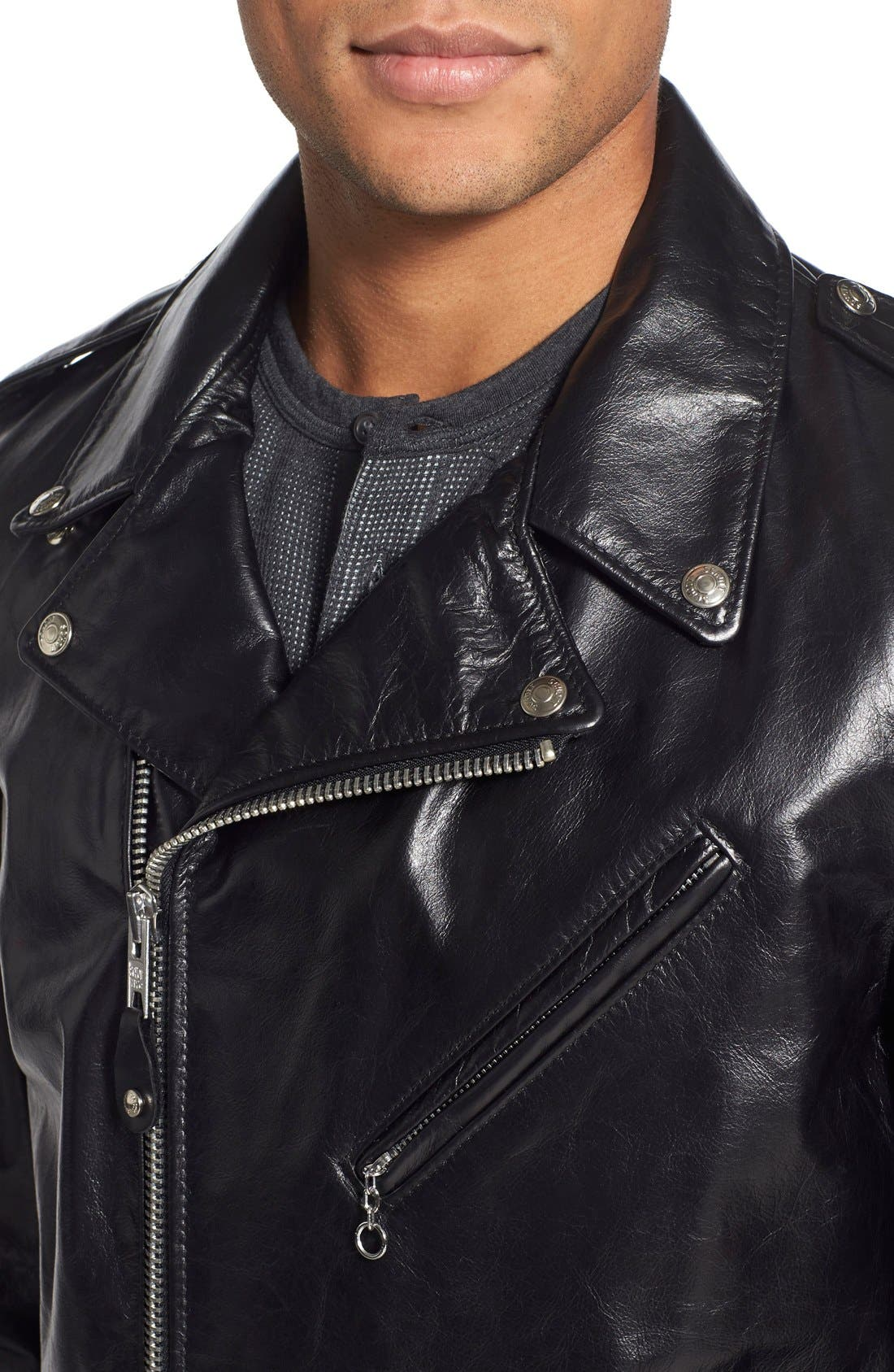 Waxy Cowhide Leather Motorcycle Jacket,                             Alternate thumbnail 4, color,                             Black