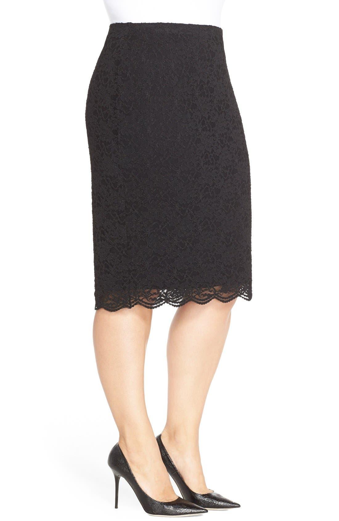 Alternate Image 3  - Vince Camuto Stretch Lace Pencil Skirt (Plus Size)