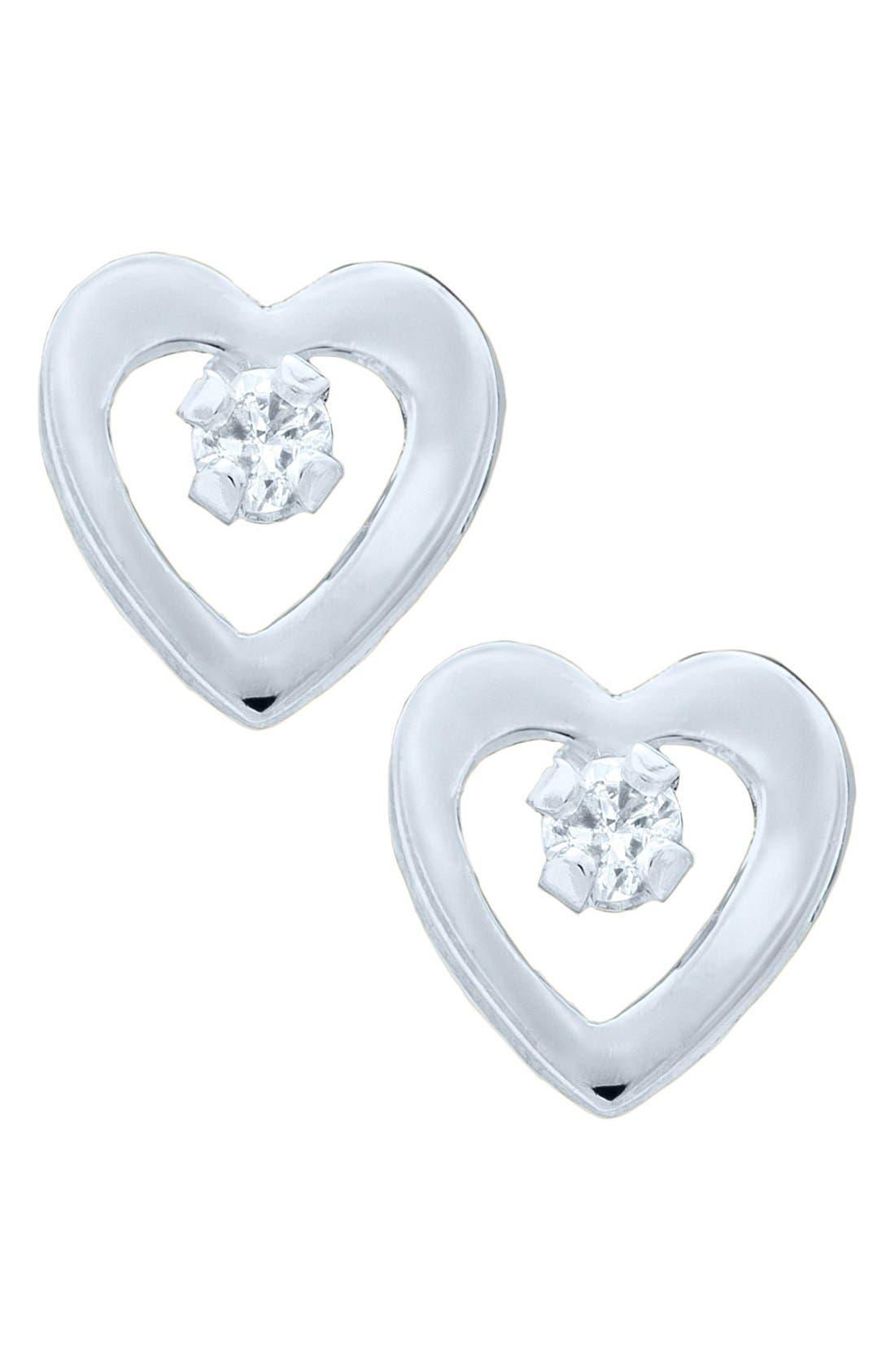 Main Image - Mignonette 14k White Gold & Diamond Heart Earrings (Baby Girls)