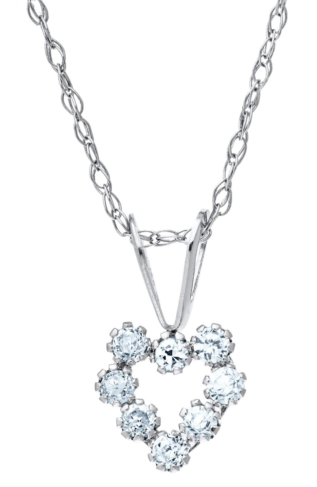 Alternate Image 2  - Mignonette 14k White Gold & Cubic Zirconia Heart Necklace (Girls)