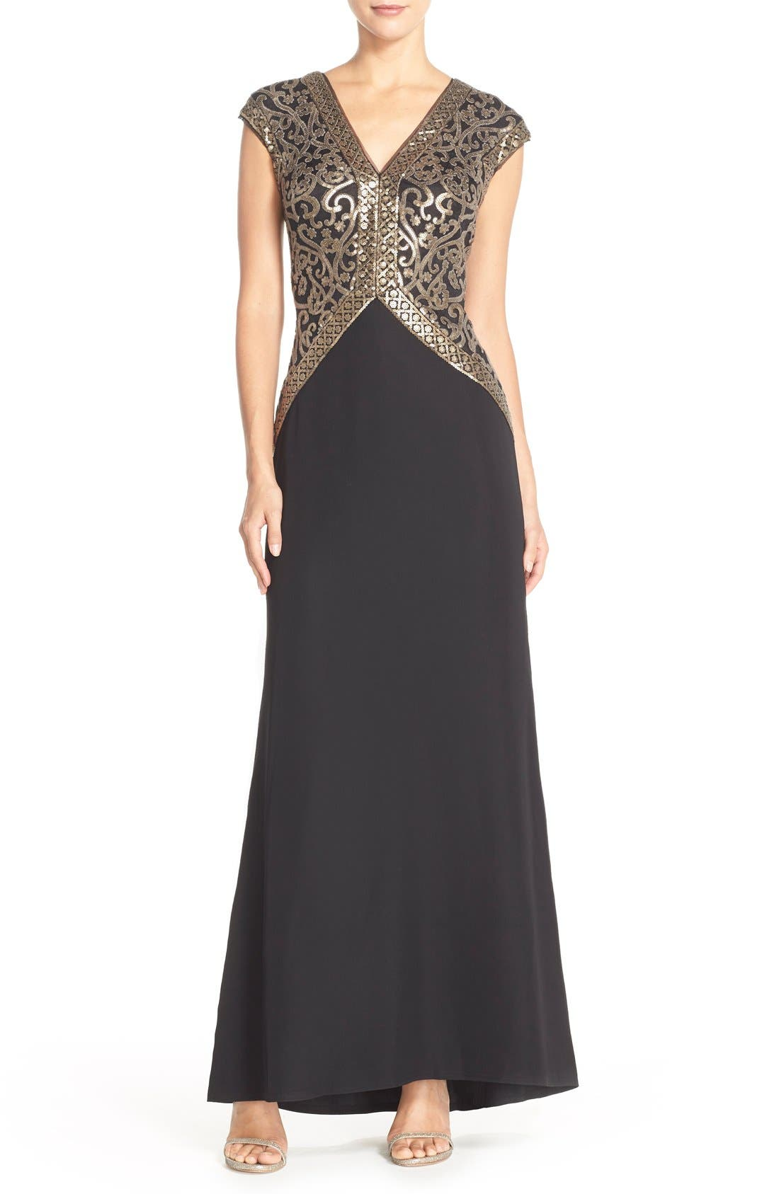 Sequin Embroidered Gown,                             Main thumbnail 1, color,                             Smoke Pearl/ Black
