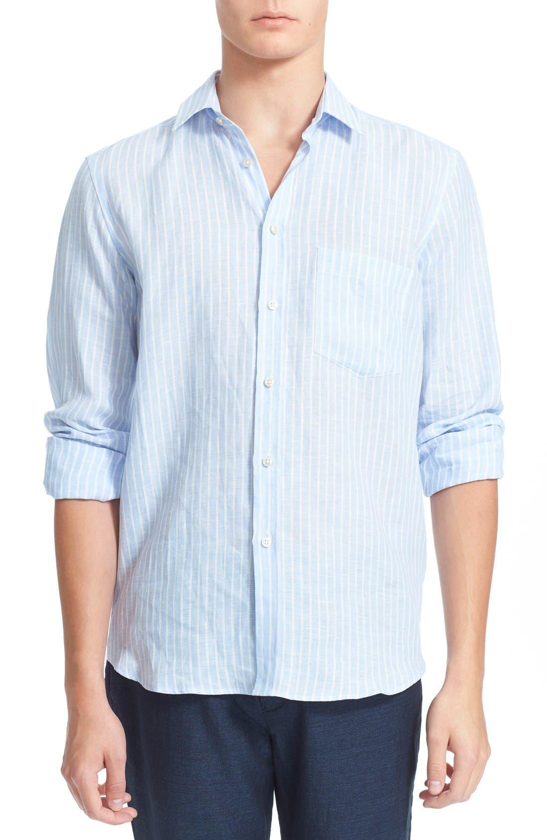 'Carrix' Trim Fit Stripe Linen Shirt,                         Main,                         color, Sky Blue