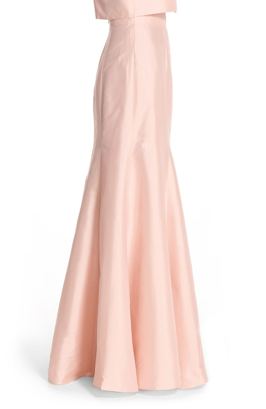 Floor Length Taffeta Mermaid Skirt,                             Alternate thumbnail 4, color,                             Blush