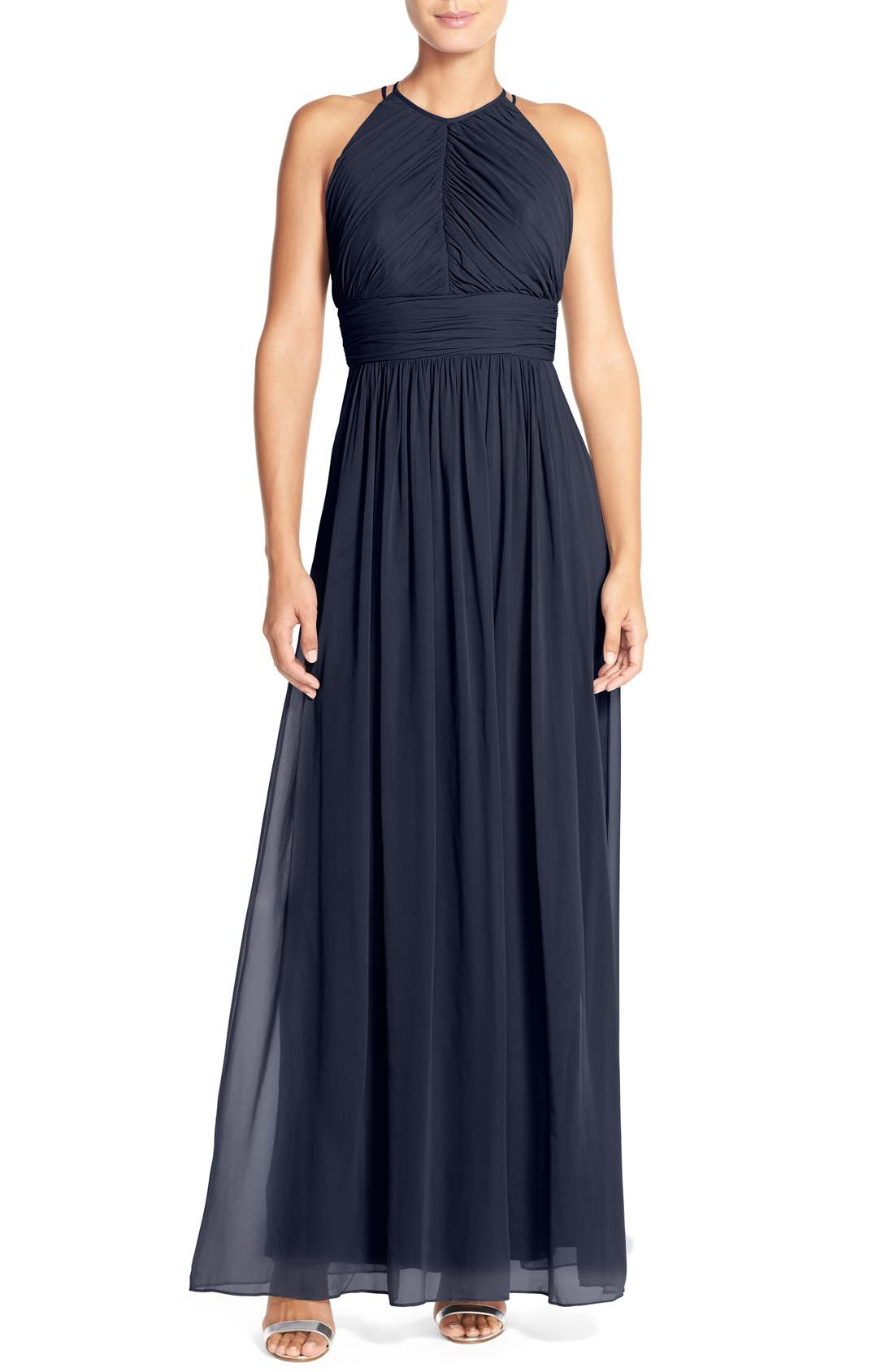 DessyCollection RuchedChiffonOpen Back Halter Gown