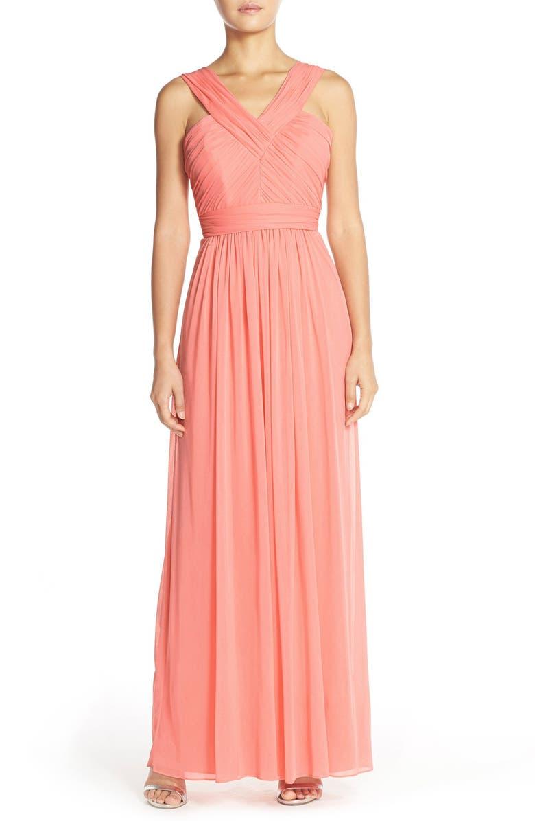 Shirred Chiffon V-Neck Gown