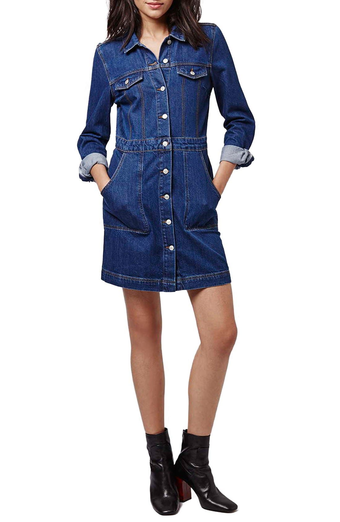 Main Image - Topshop Denim Western Shirtdress