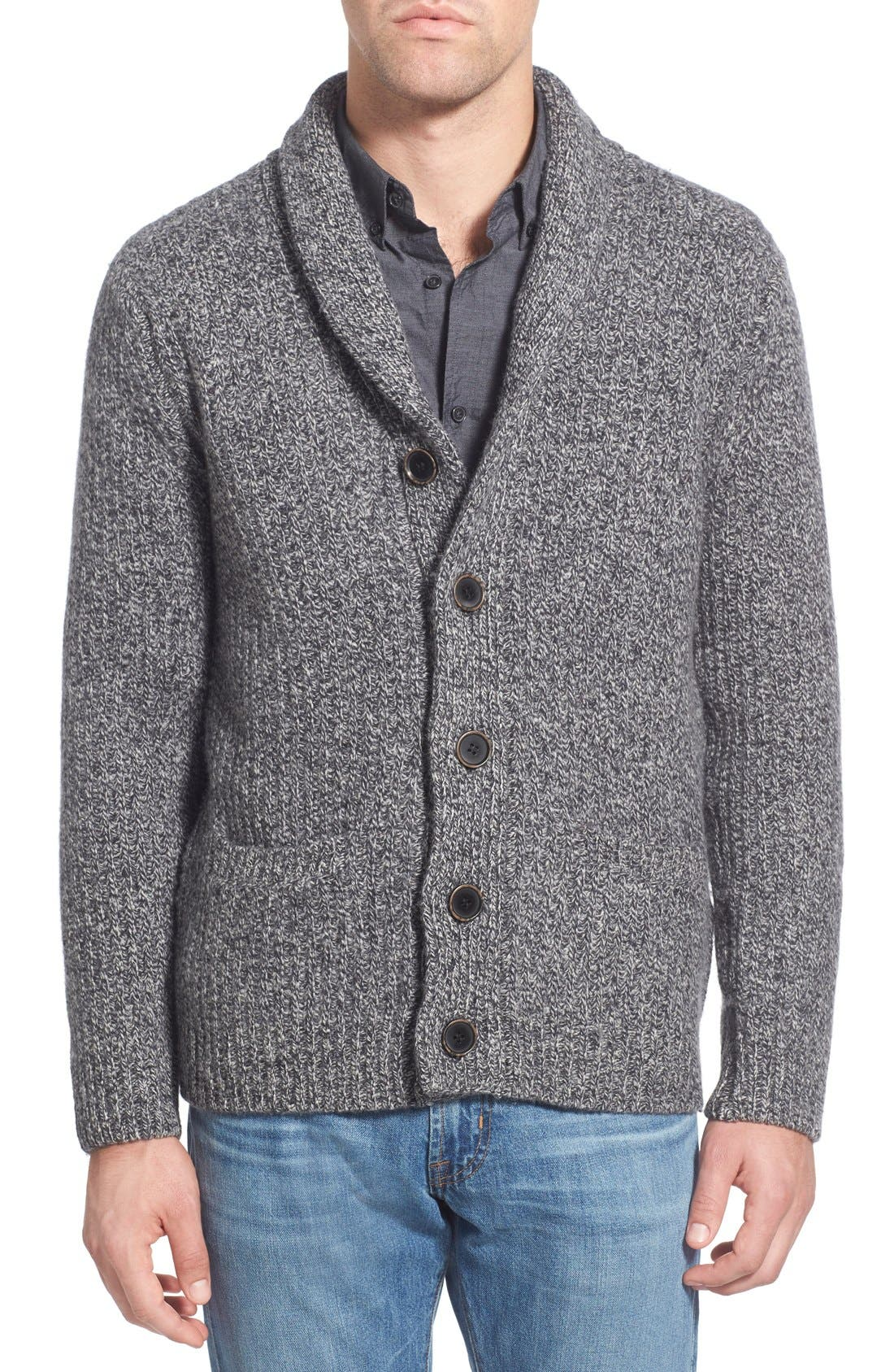 SCHOTT NYC Shawl Collar Wool Blend Cardigan
