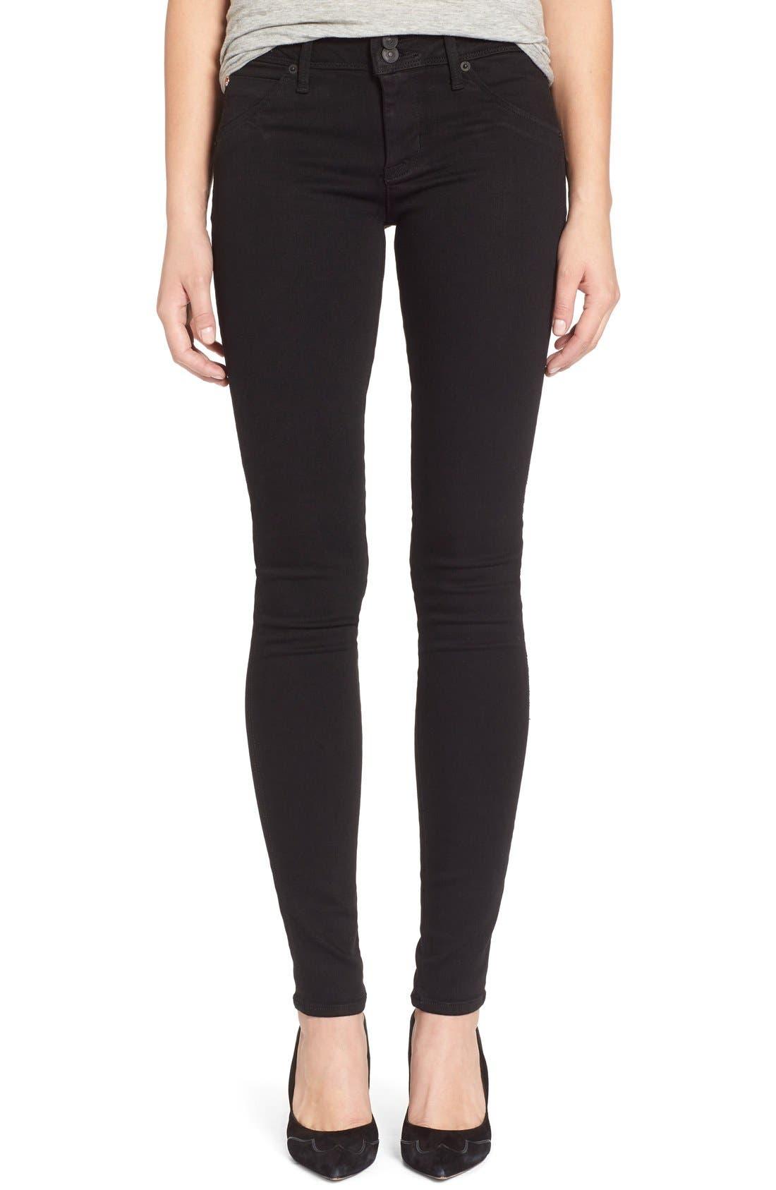 Alternate Image 1 Selected - Hudson Jeans 'Collin' Supermodel Skinny Jeans (Black) (Long)