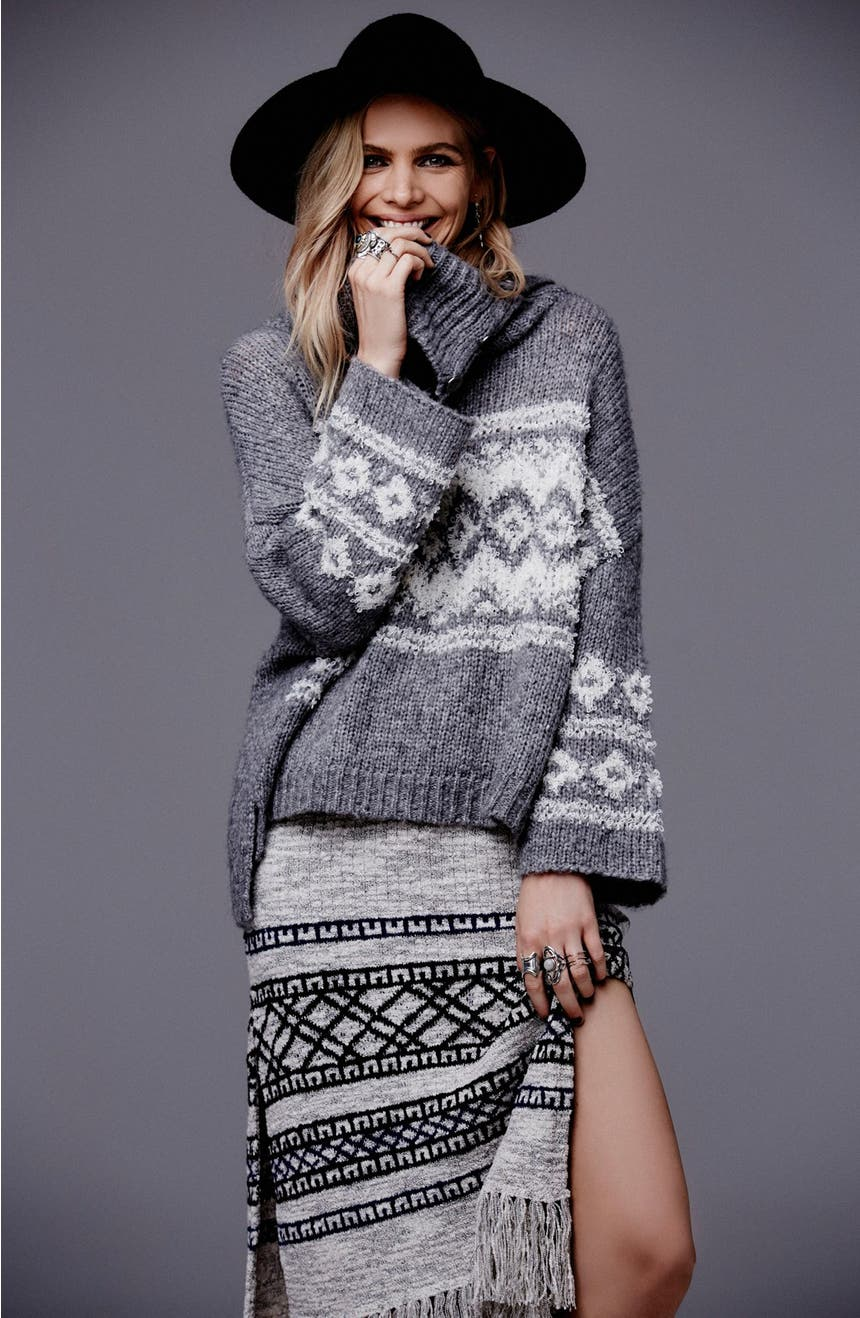 Free People Fair Isle Split Neck Sweater | Nordstrom