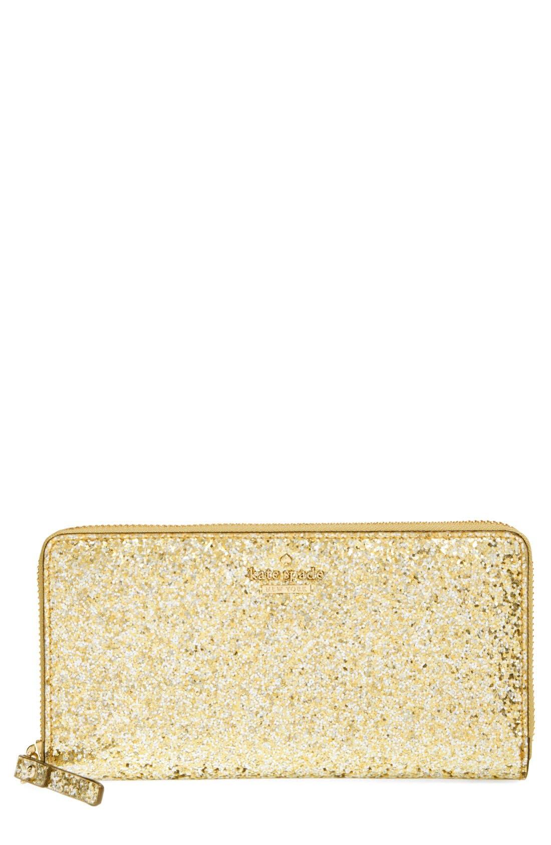 Main Image - kate spade new york 'glitter bug - lacey' zip around wallet