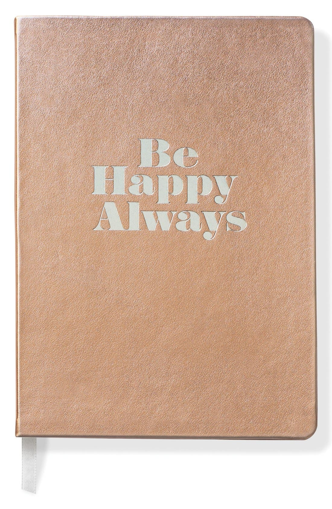 'Be Happy Always' Softcover Journal,                         Main,                         color, Gold