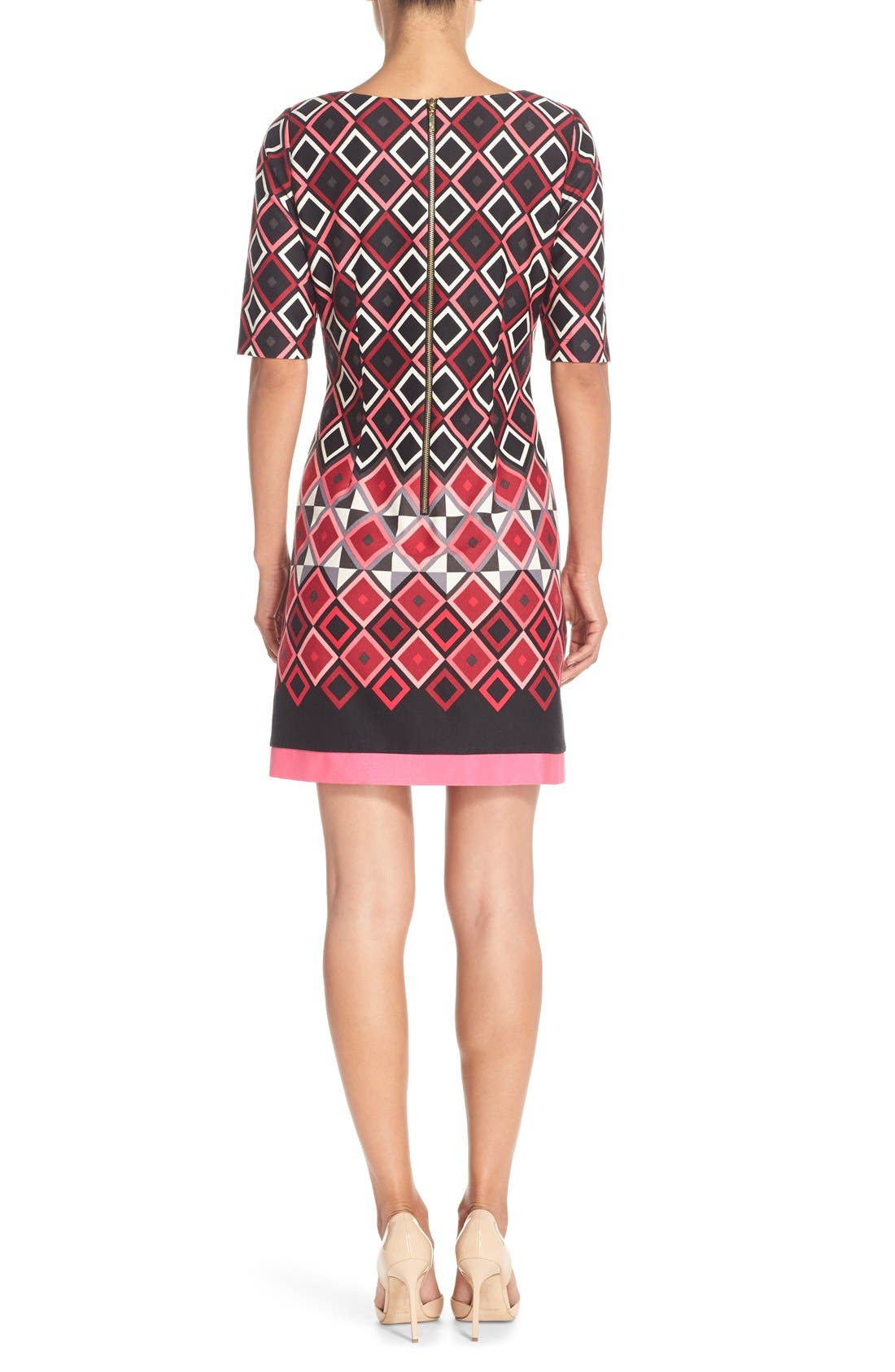Alternate Image 2  - Eliza J Print Ponte Shift Dress (Regular & Petite)