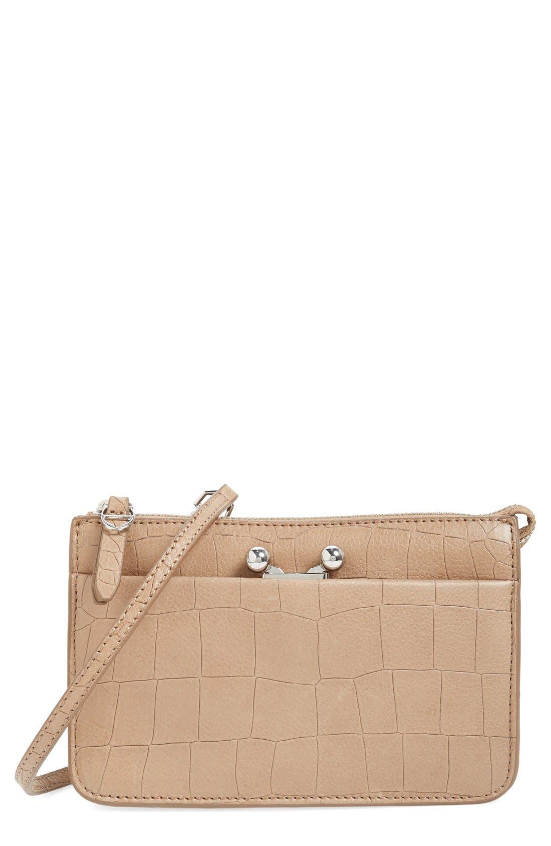 Alternate Image 1 Selected - Etienne Aigner 'Paley' Croc Embossed Leather Crossbody Bag