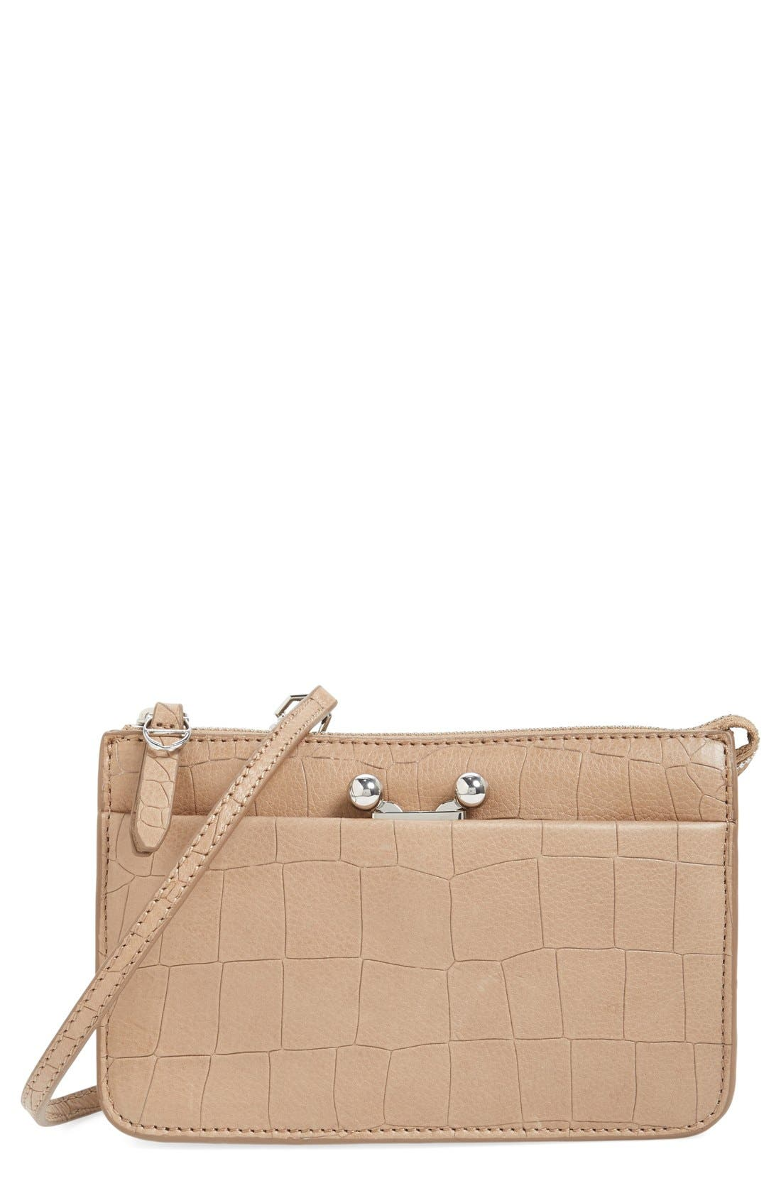 Main Image - Etienne Aigner 'Paley' Croc Embossed Leather Crossbody Bag