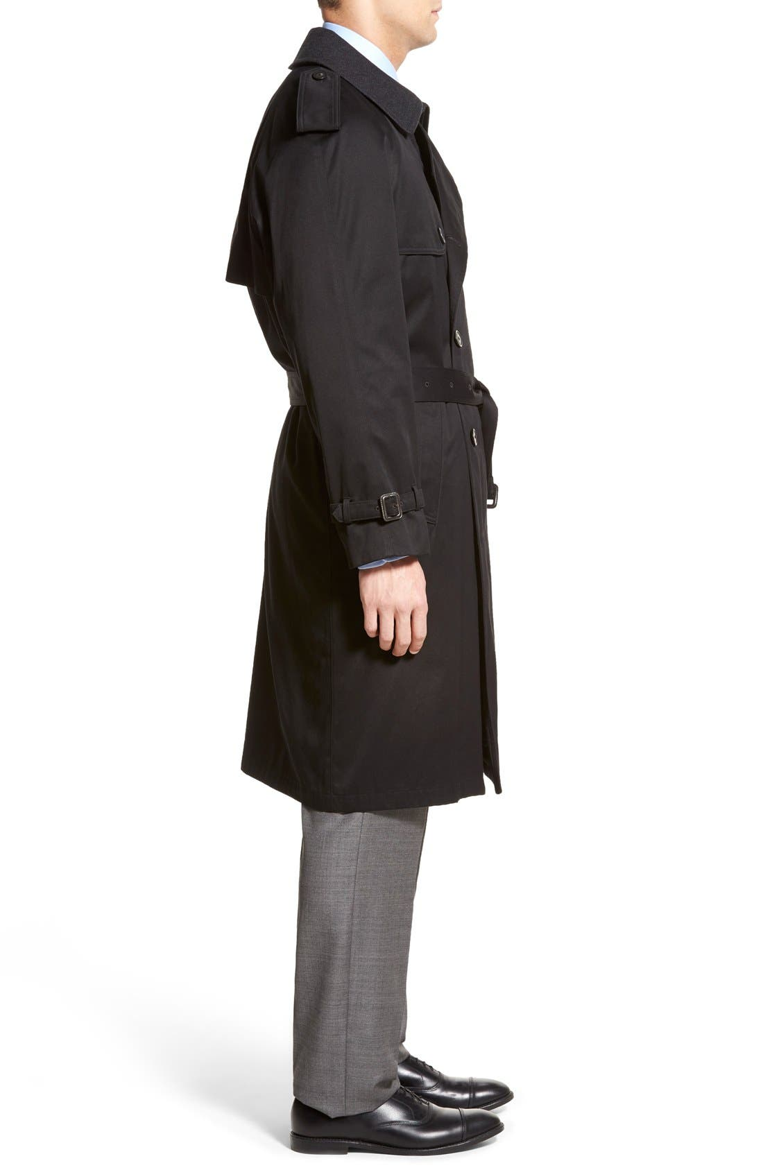Barrington Classic Fit Cotton Blend Trench Coat,                             Alternate thumbnail 3, color,                             Black