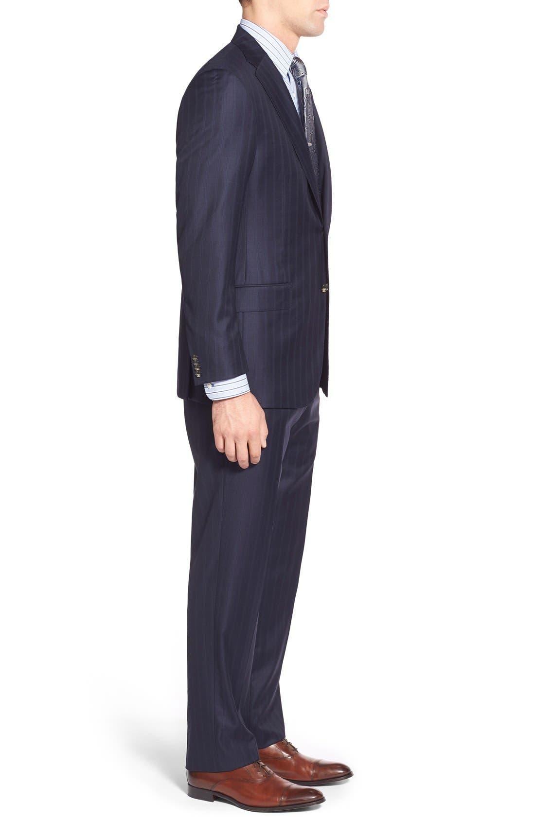 Alternate Image 3  - Hickey Freeman Classic B Fit Stripe Wool Suit
