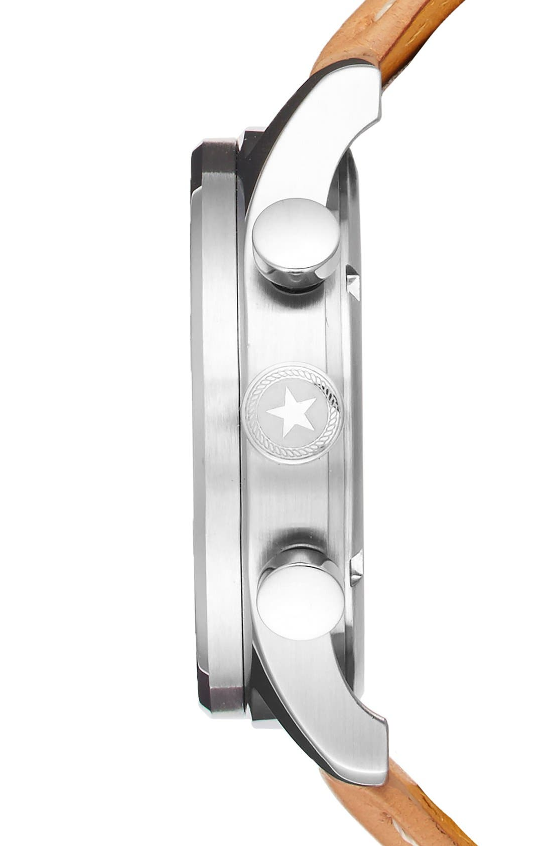 Alternate Image 3  - Jack Mason Nautical Chronograph Leather Strap Watch, 42mm