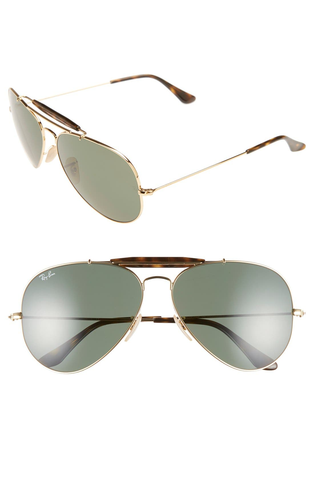 'Outdoorsman II' 62mm Sunglasses,                         Main,                         color, Gold/ Dark Green