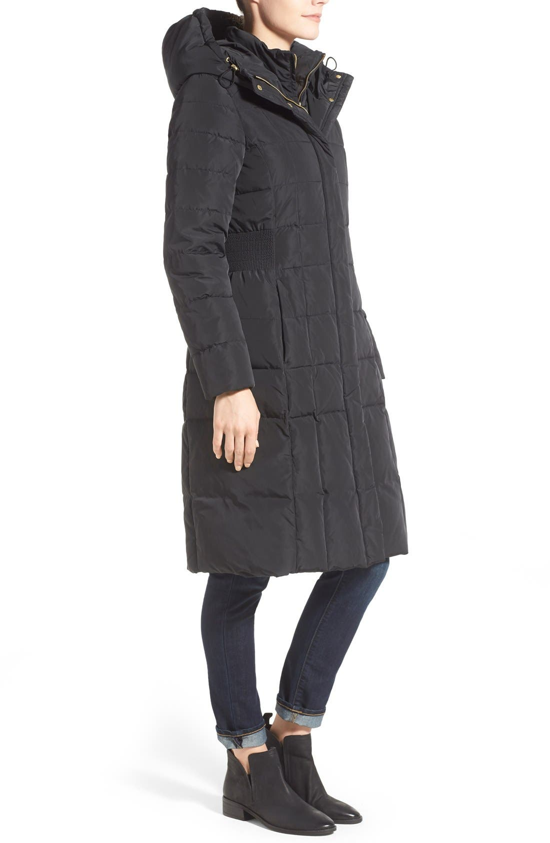 Cole Haan Bib Insert Down & Feather Fill Coat,                             Alternate thumbnail 3, color,                             Black