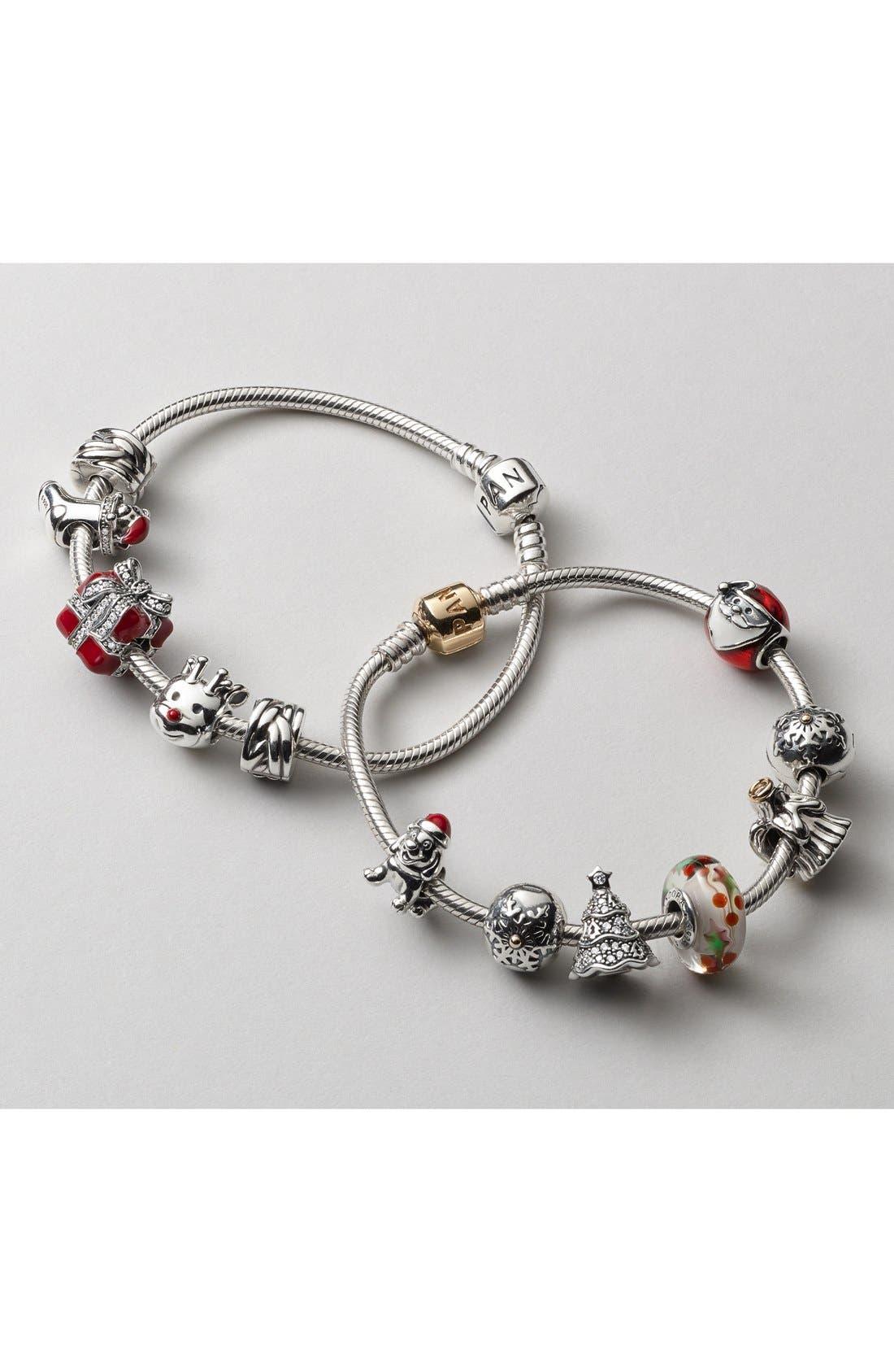Alternate Image 2  - PANDORA Gold Clasp Sterling Silver Charm Bracelet
