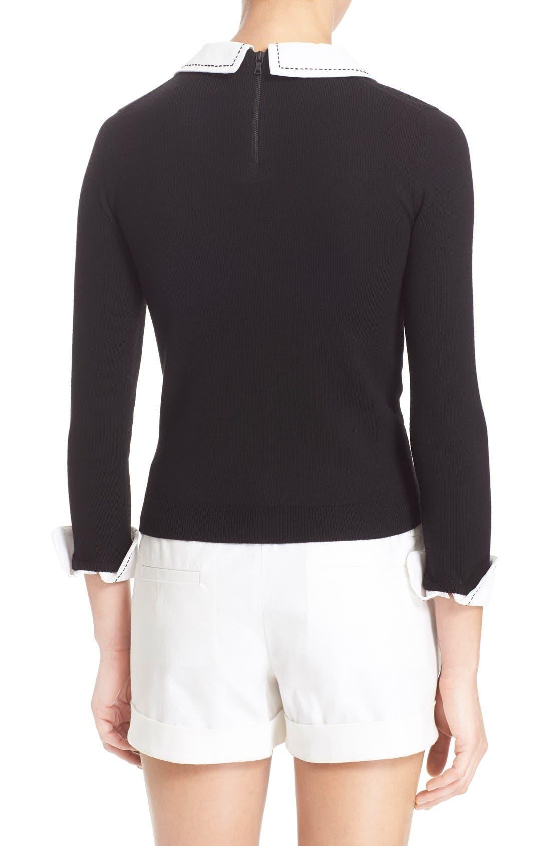 Alternate Image 2  - Alice + Olivia 'Porla' Embellished Collar Wool Pullover