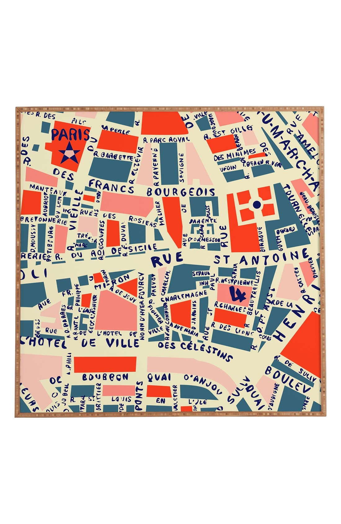 Alternate Image 1 Selected - Deny Designs 'Paris Map' Wall Art