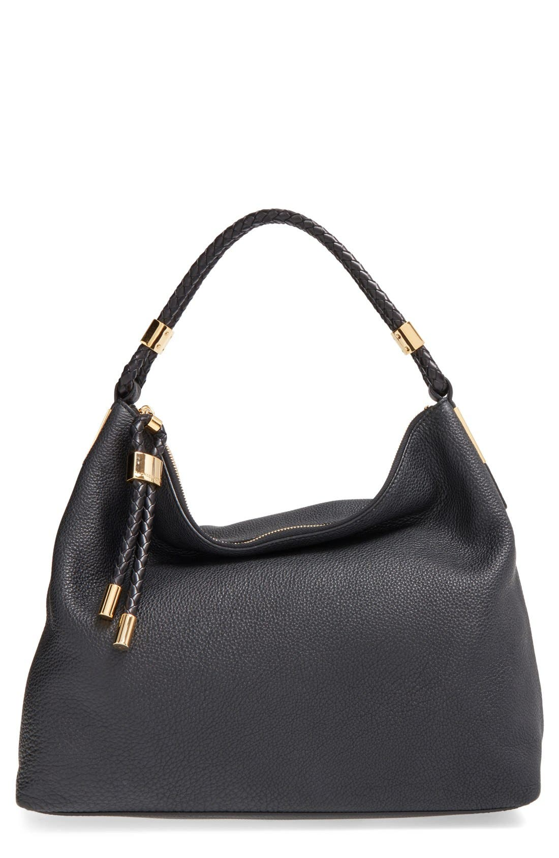 'Large Skorpios' Leather Hobo,                             Main thumbnail 1, color,                             Black