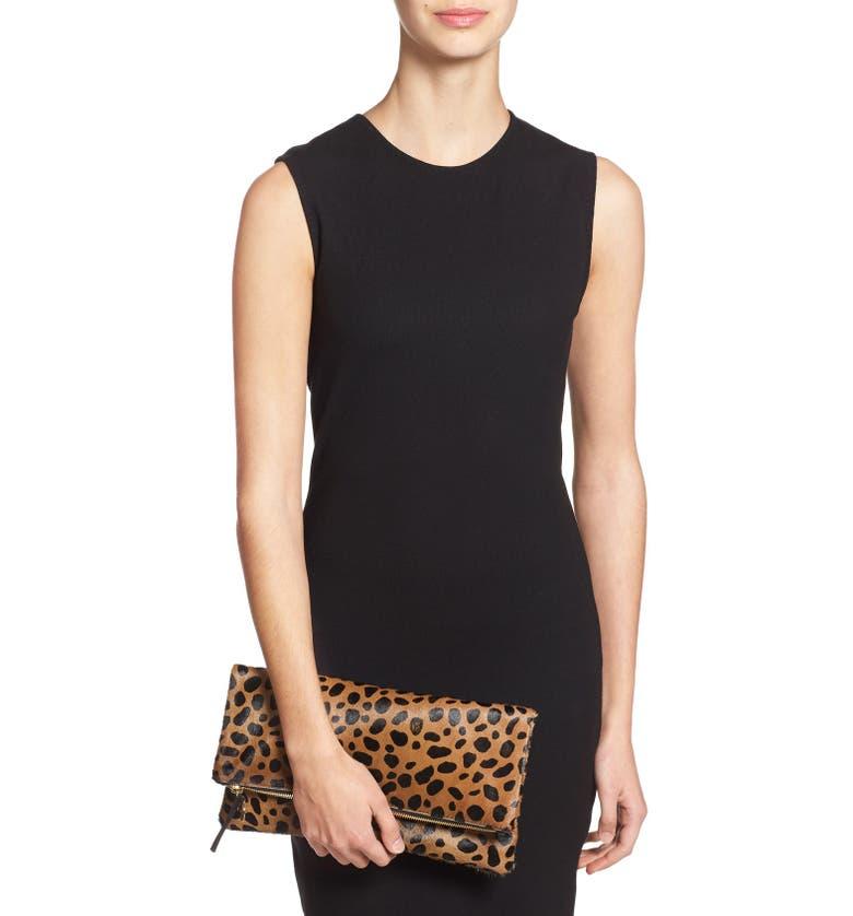 Main Image - Clare V. Genuine Calf Hair Leopard Print Foldover Clutch