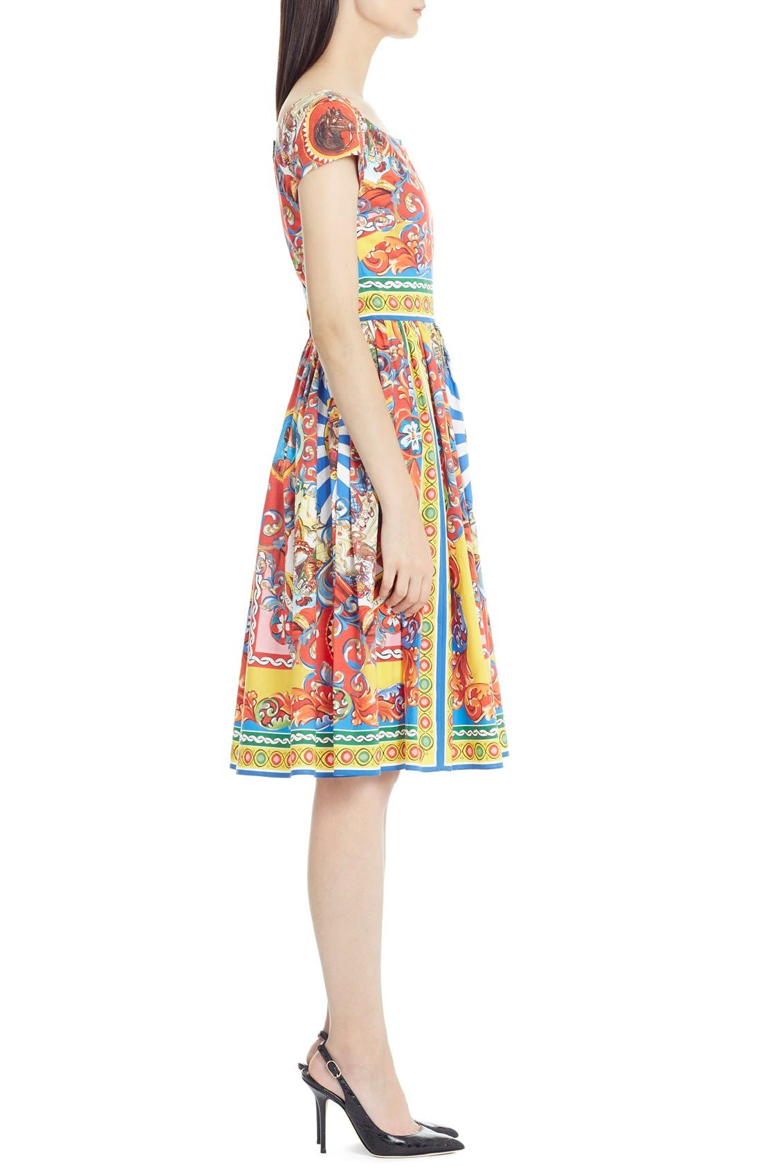 Alternate Image 3  - Dolce&Gabbana Carretto Print Cotton Poplin Dress