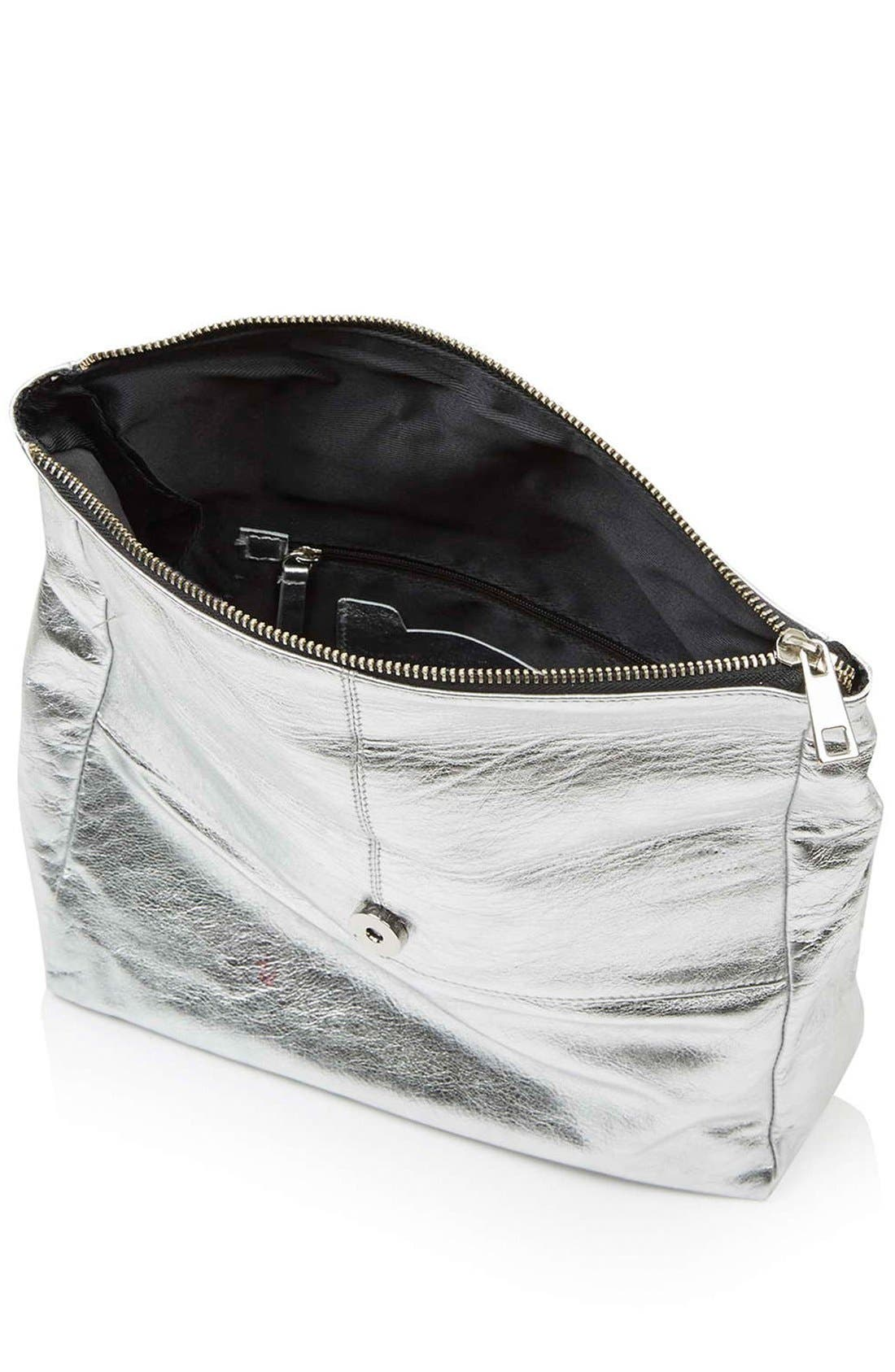 Alternate Image 4  - Topshop Metallic Leather Foldover Clutch