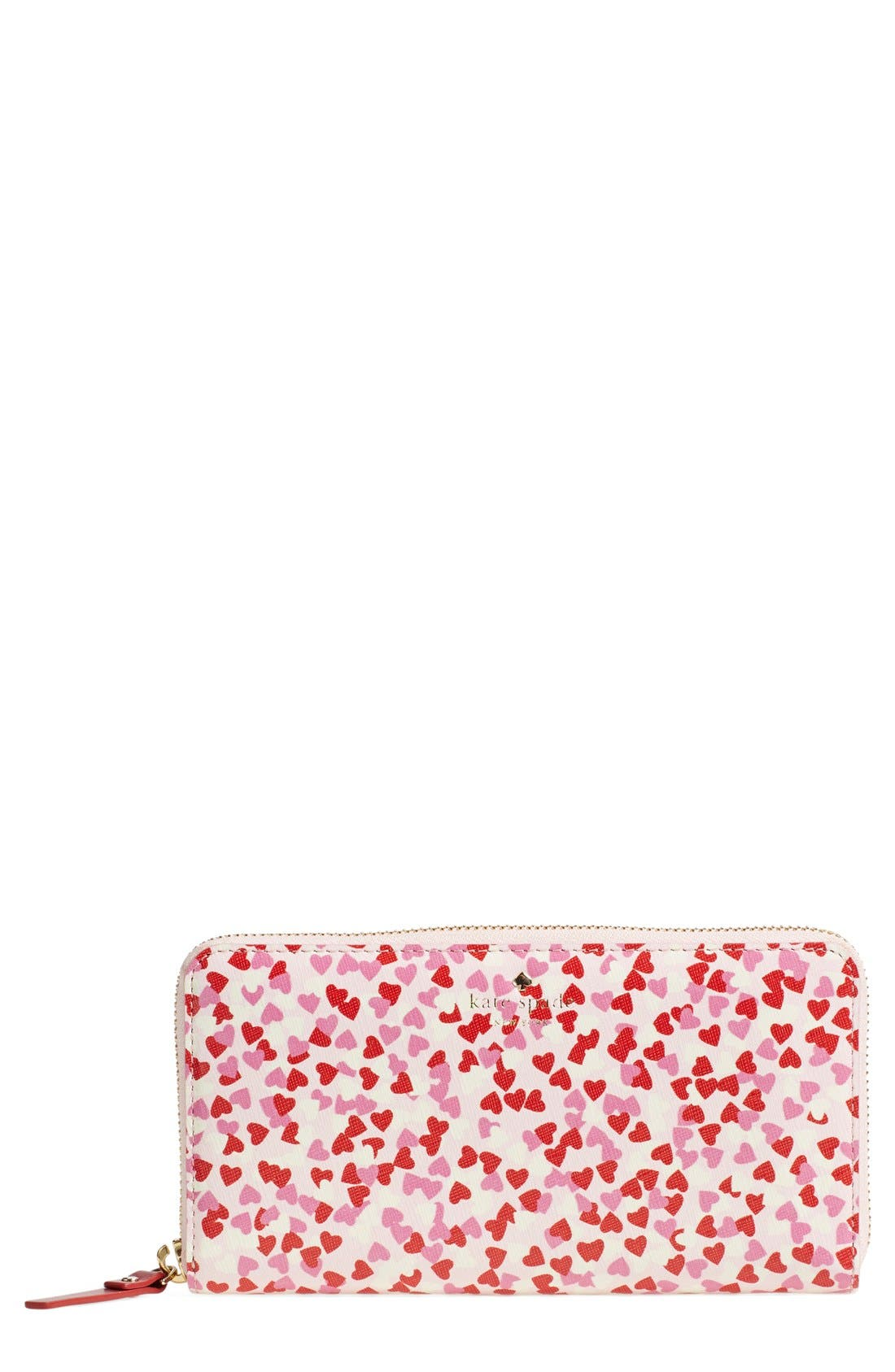 'confetti print lacey' zip around wallet,                         Main,                         color, Posy Red
