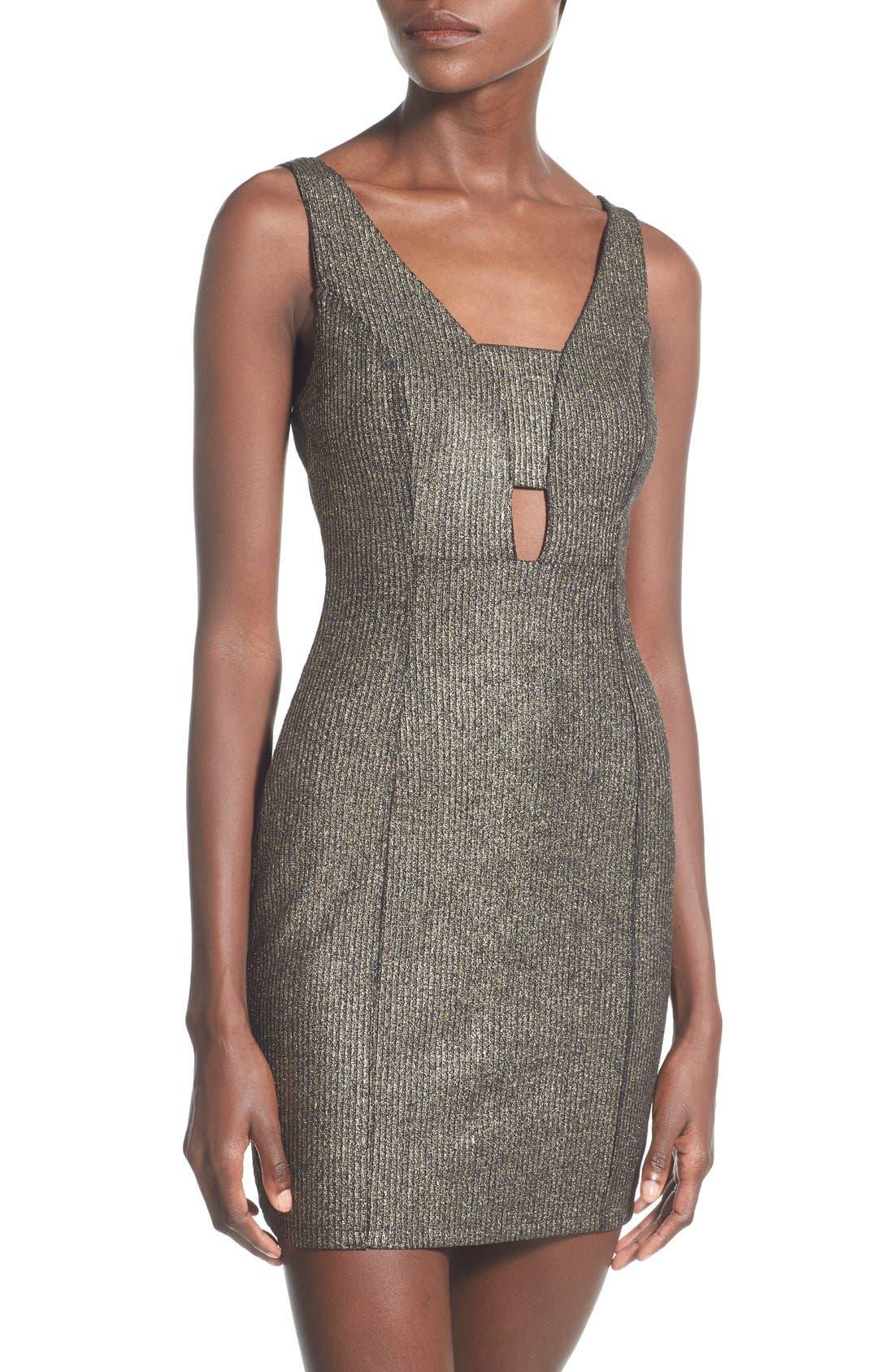 Alternate Image 3  - Soprano Cutout Detail Metallic Body-Con Dress