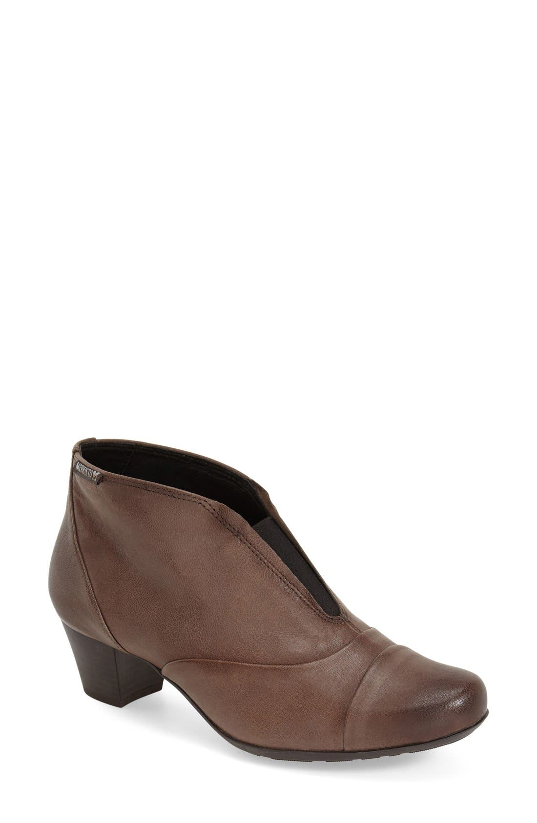 'Maddie' Bootie,                             Main thumbnail 1, color,                             Dark Taupe Nappa