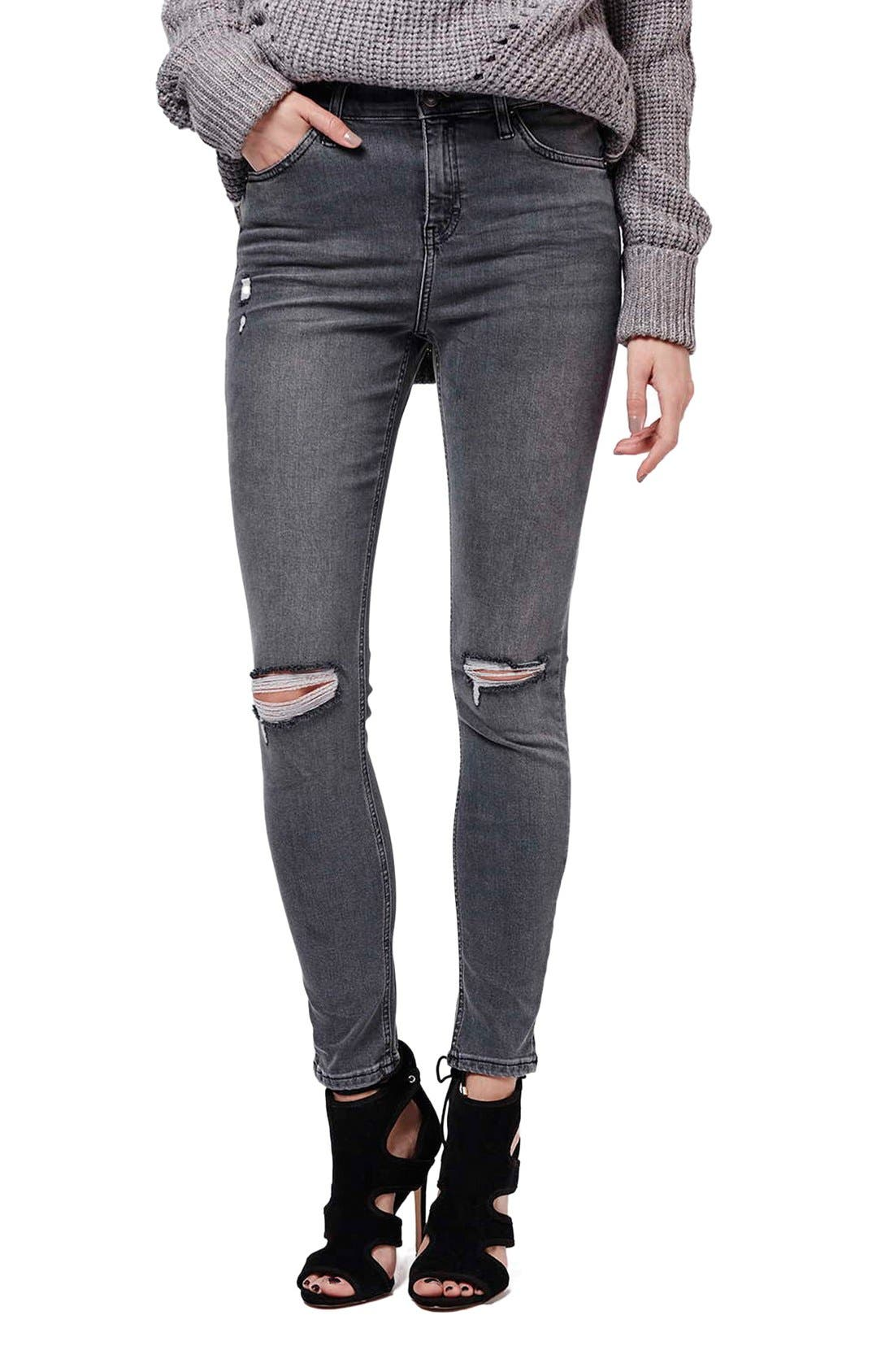 Main Image - Topshop 'Jamie' Ripped Skinny Jeans (Grey)