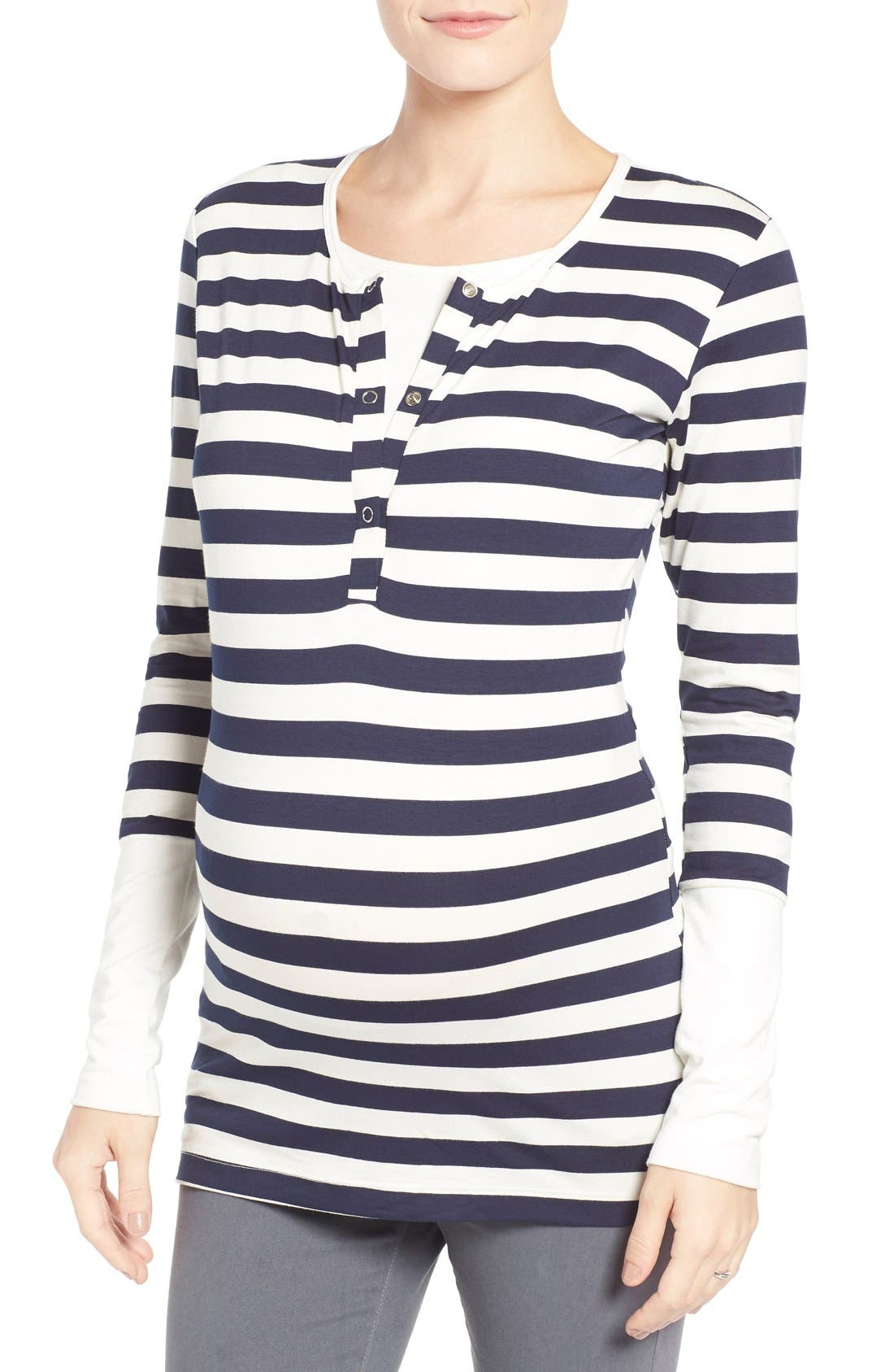 'Jenn' Nursing Top,                             Main thumbnail 1, color,                             Navy Stripe With Cream Cuff