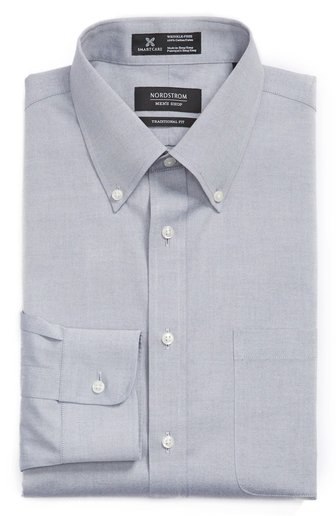 Smartcare<sup>™</sup> Traditional Fit Pinpoint Dress Shirt,                         Main,                         color, Navy- Patriot