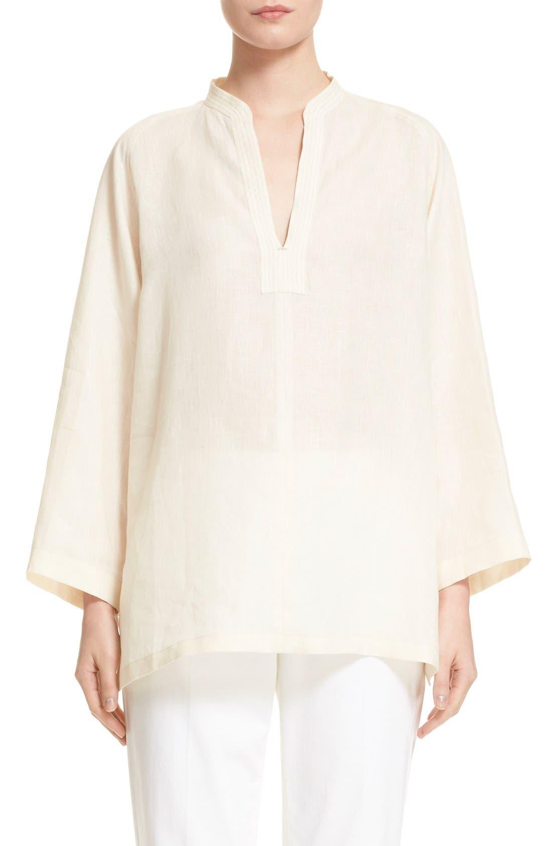 'Picchio' Linen Blouse,                         Main,                         color, Beige