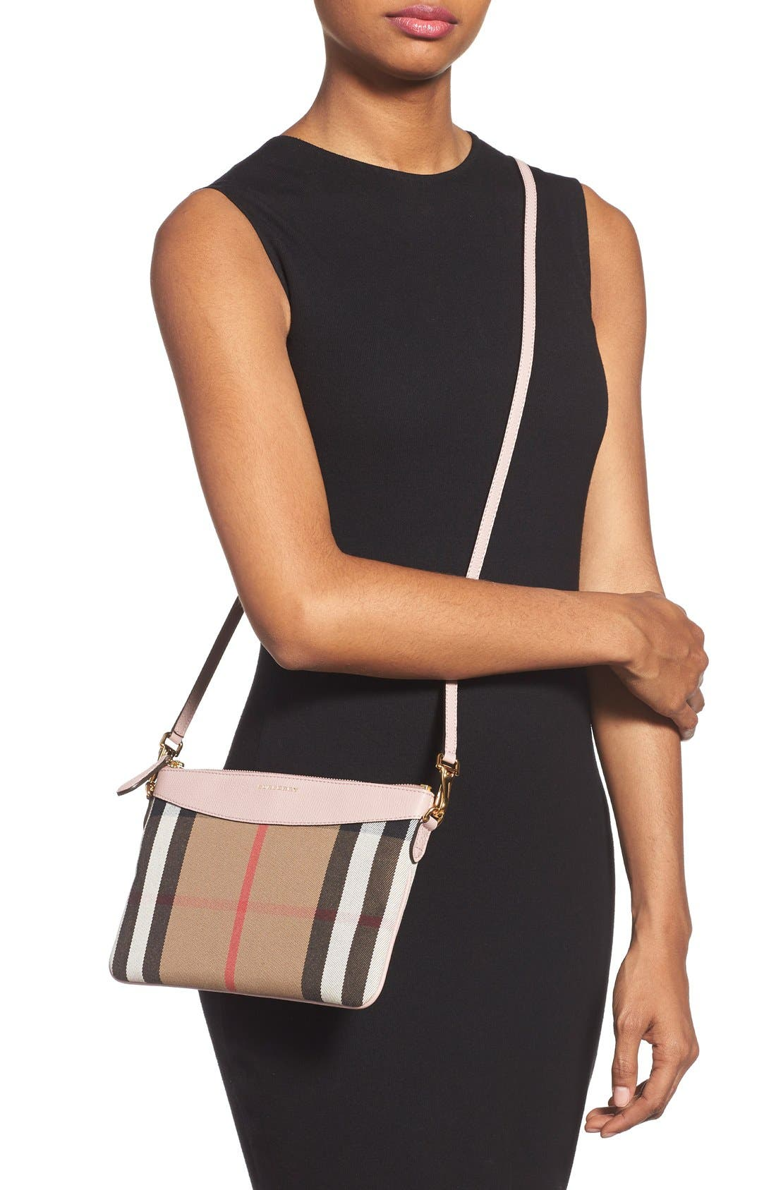 'Peyton - House Check' Crossbody Bag,                             Alternate thumbnail 2, color,                             Pale Orchid
