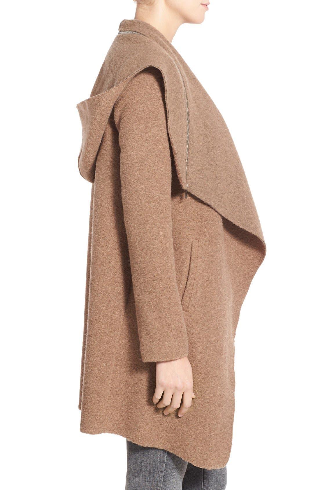Alternate Image 3  - BB Dakota 'Hudson' Zip Detail Hooded Drape Front Coat