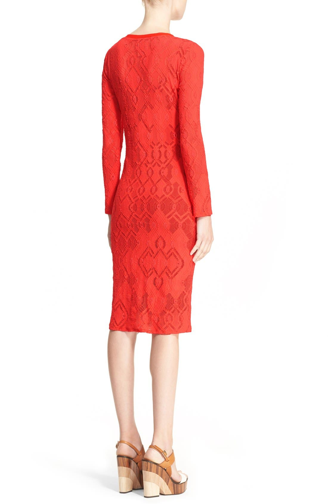 Long Sleeve Geo Lace Sheath Dress,                             Alternate thumbnail 2, color,                             Red
