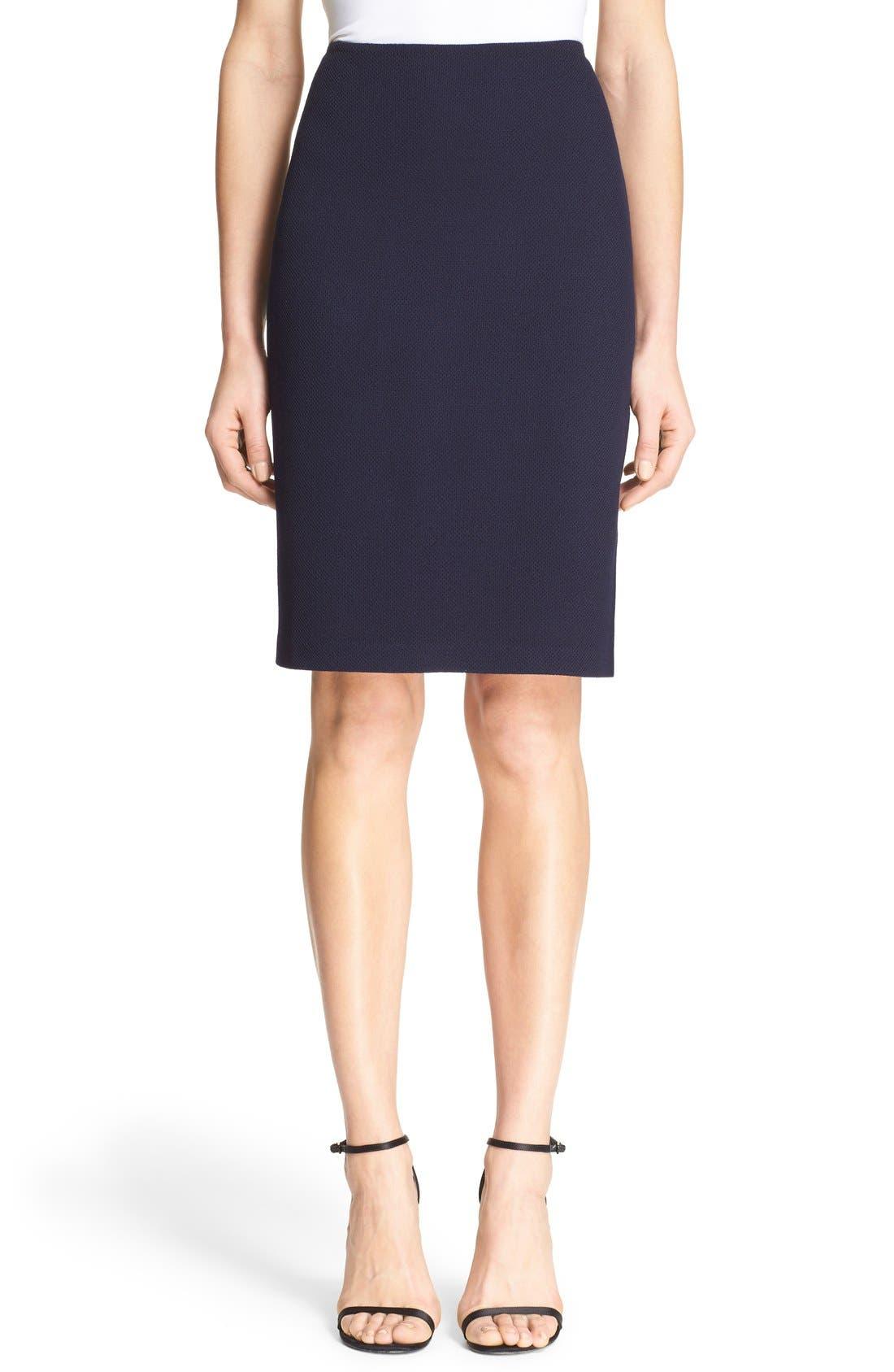 Milano Piqué Knit Pencil Skirt,                         Main,                         color, Navy
