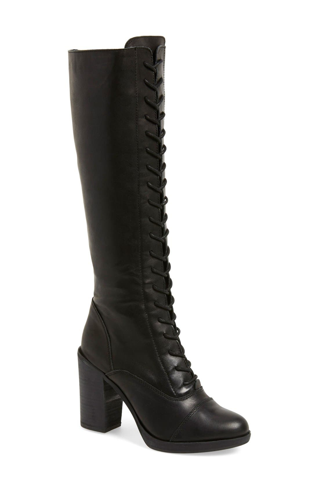 Alternate Image 1 Selected - Steve Madden 'Nidea' Lace-Up Knee High Boot (Women)