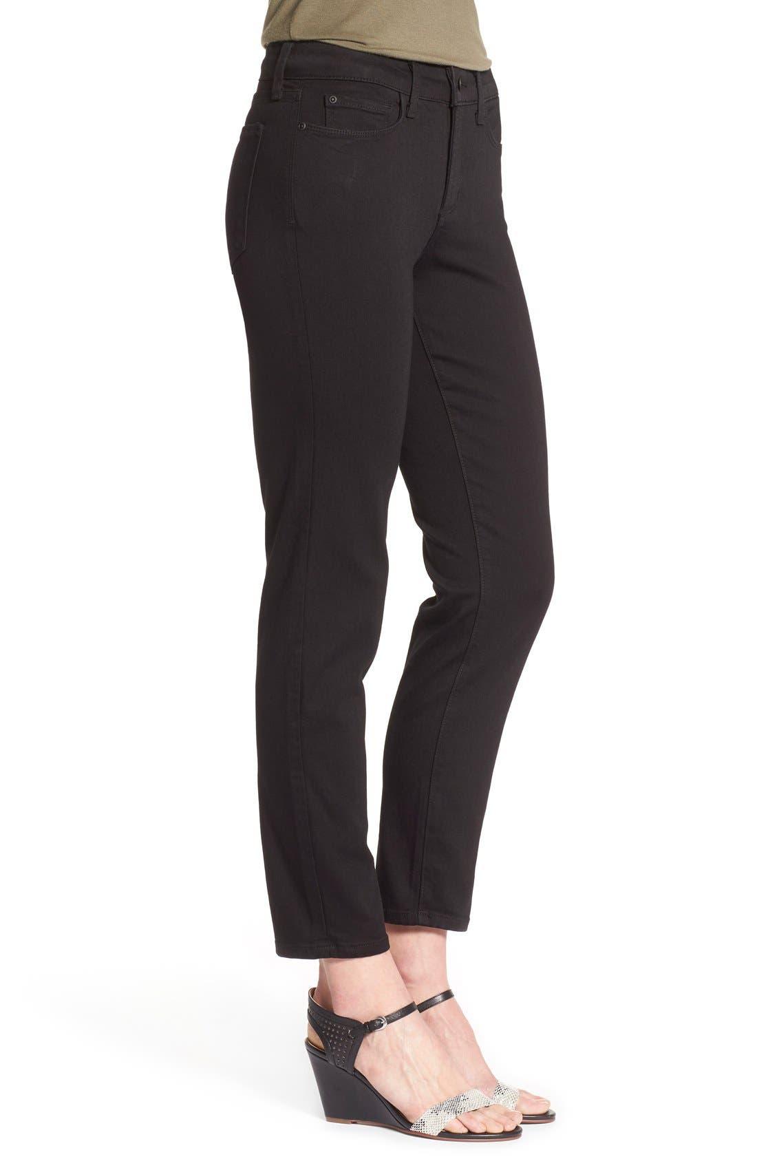 'Clarissa' Stretch Ankle Skinny Jeans,                             Alternate thumbnail 3, color,                             Black Garment Wash