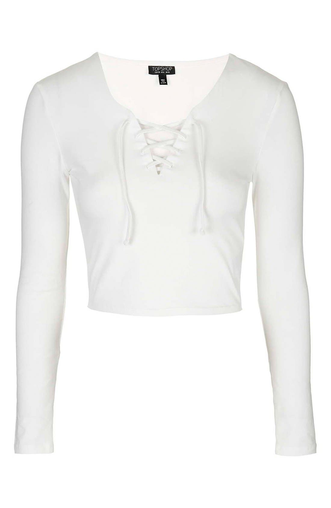 Alternate Image 3  - Topshop Lace-Up Crop Top