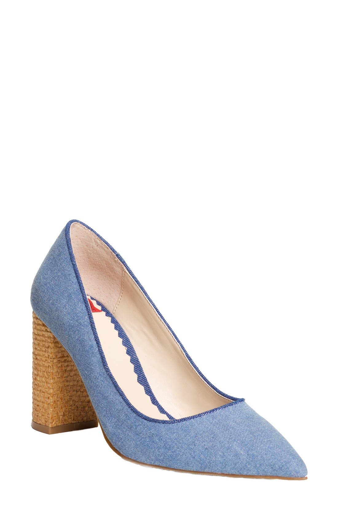 'OMG' Pointy Toe Pump,                             Main thumbnail 1, color,                             Light Blue