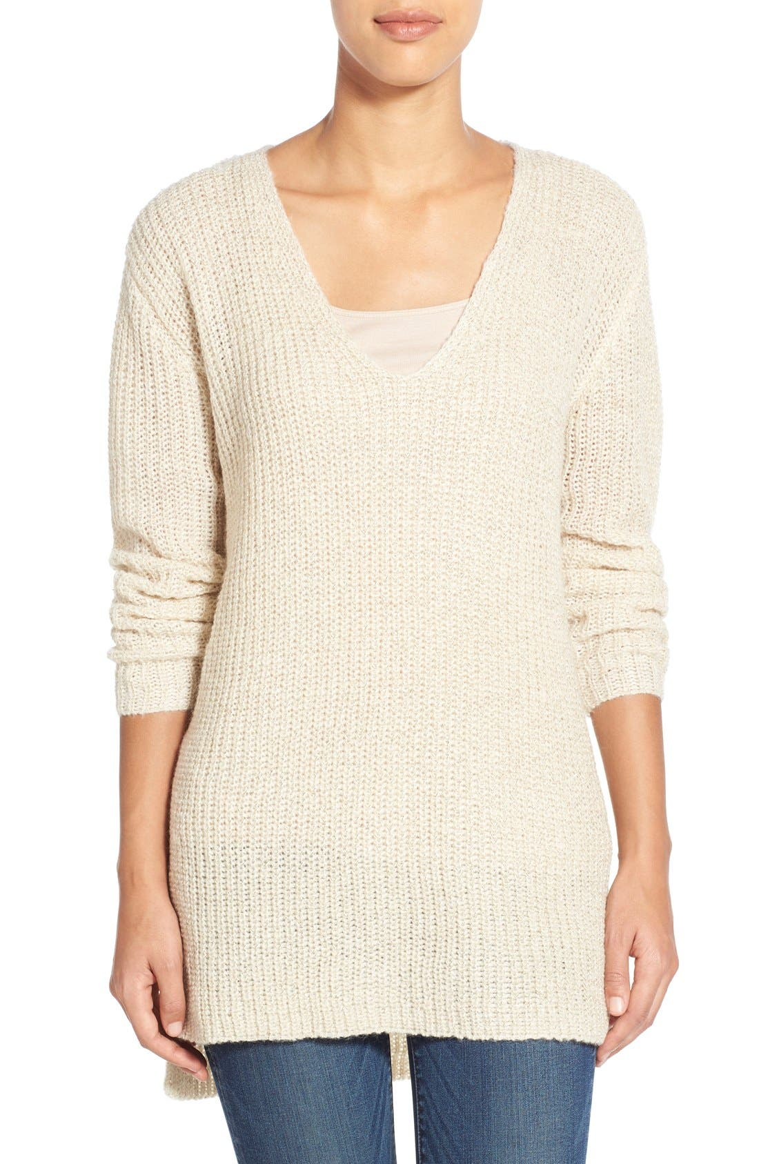 Main Image - Two by Vince Camuto Metallic Flecked V-Neck Sweater