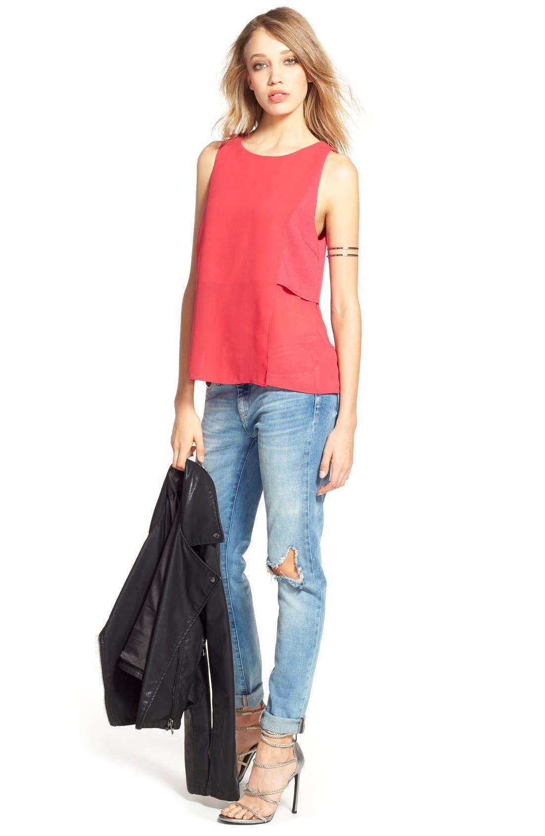 Alternate Image 2  - BLANKNYC Good Vibes Distressed Skinny Jeans (Medium Wash Blue)